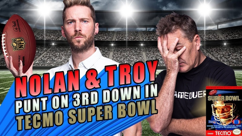 Nolan North and Troy Baker Punt on 3rd Down in Tecmo Super Bowl