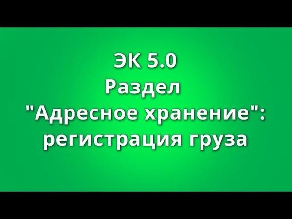 ЭК 5.0 Раздел Адресное Хранение: регистрация груза