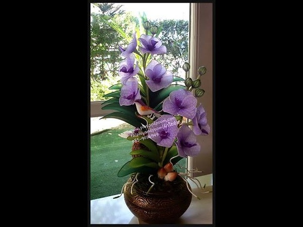 How to make nylon flower vanda orchid by FB ployandpoom ผ้าใยบัว