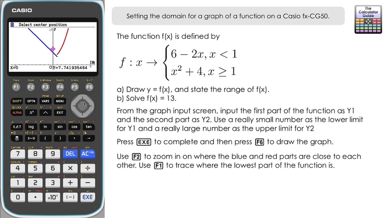 Setting the domain for a graph of a function on a Casio fx CG50 Calculator