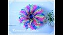 МК Трехцветный цветочек из узкой органзы 🏵️10.5 см uma flor de uma organza estreita