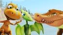 Поезд динозавров. Развивающий мультик для детей про динозавров. Птеранодон Тайни и крокодил