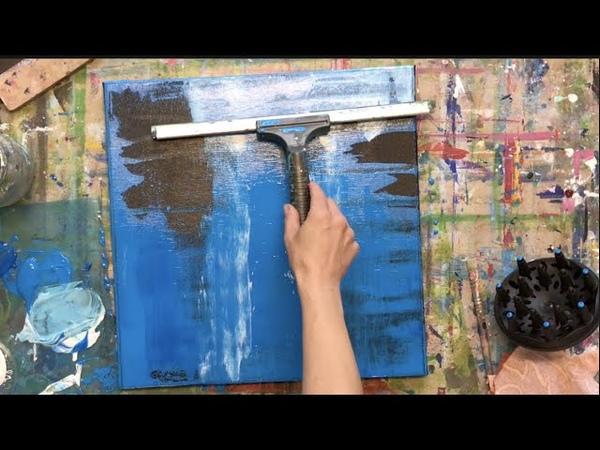 Abstrakte Malerei, Acryl, simples Werkzeug, Nass in Nass, einfache Technik, Anfänger, squeegee