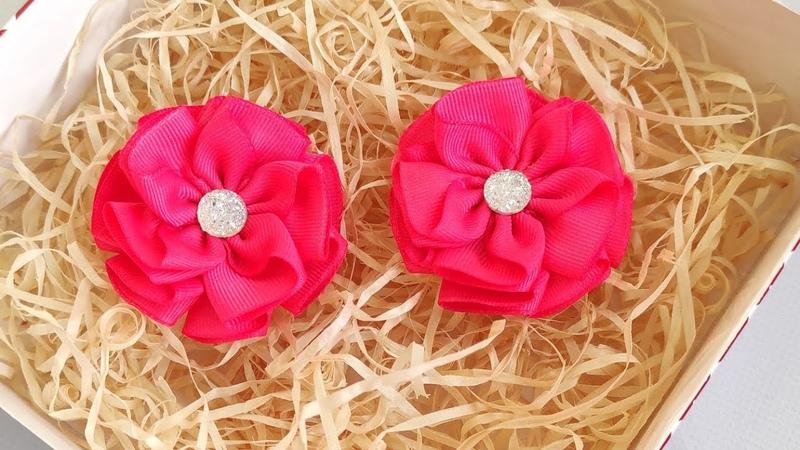 Очень простые цветы из лент цветы из ленты 2,5 см