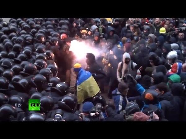 Столкновения оппозиционеров и спецназа Украины в Киеве
