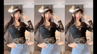 Asian busty girl with huge soft breasts is very comfortable