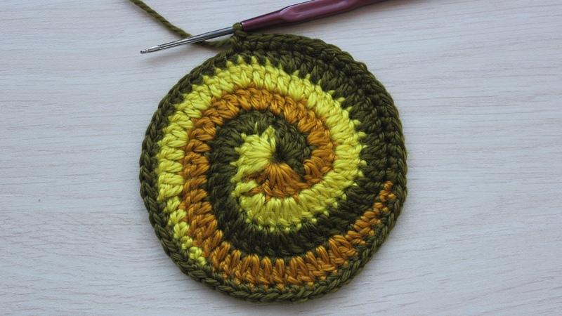 Вязание крючком Урок 15 2 Круг спираль завершение Spiral crochet circle motif
