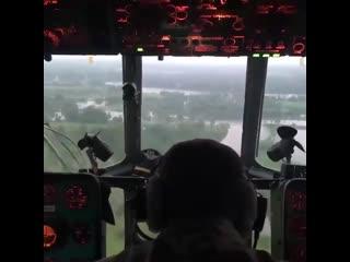 Авиацией МЧС России эвакуированные жители двух населенных пунктов Тулунского района