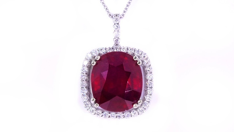 Red Ruby and Diamond Pendant Necklace CERTIFIED 14k White Gold Vintage Estate 13.49 tcw Earth Mined