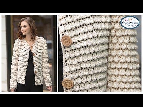 Tığ İşi Böğürtlen Örnekli Hırka Crochet Work Blackberry Pattern Cardigan
