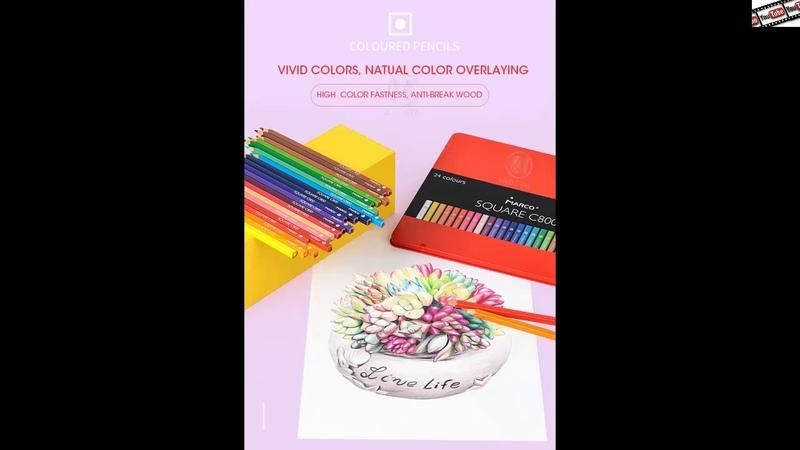 Марко 12 24 цветов квадратные Модные Пастельные цветные карандаши масляный цветной карандаш