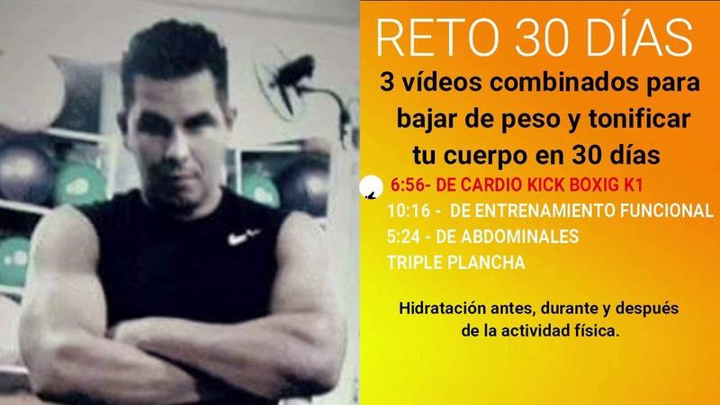 Super Reto 30 Días 1 Kick Boxing 2 Entrenamiento Funcional 3 Abdominales Plancha