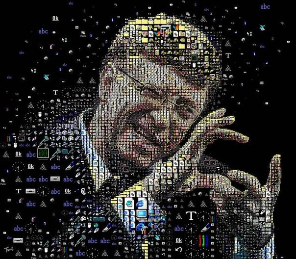 Этот мозаичный портрет Билла Гейтса сделан из иконок, использовавшихся в Windows 1