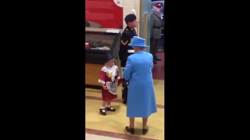 Во время приветствия королевы Великобритании гвардеец случайно ударил ребёнка отдавая честь