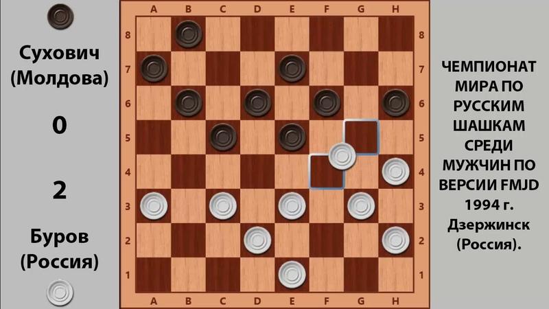 Буров - Сухович. Чемпионат Мира по Русским шашкам 1994
