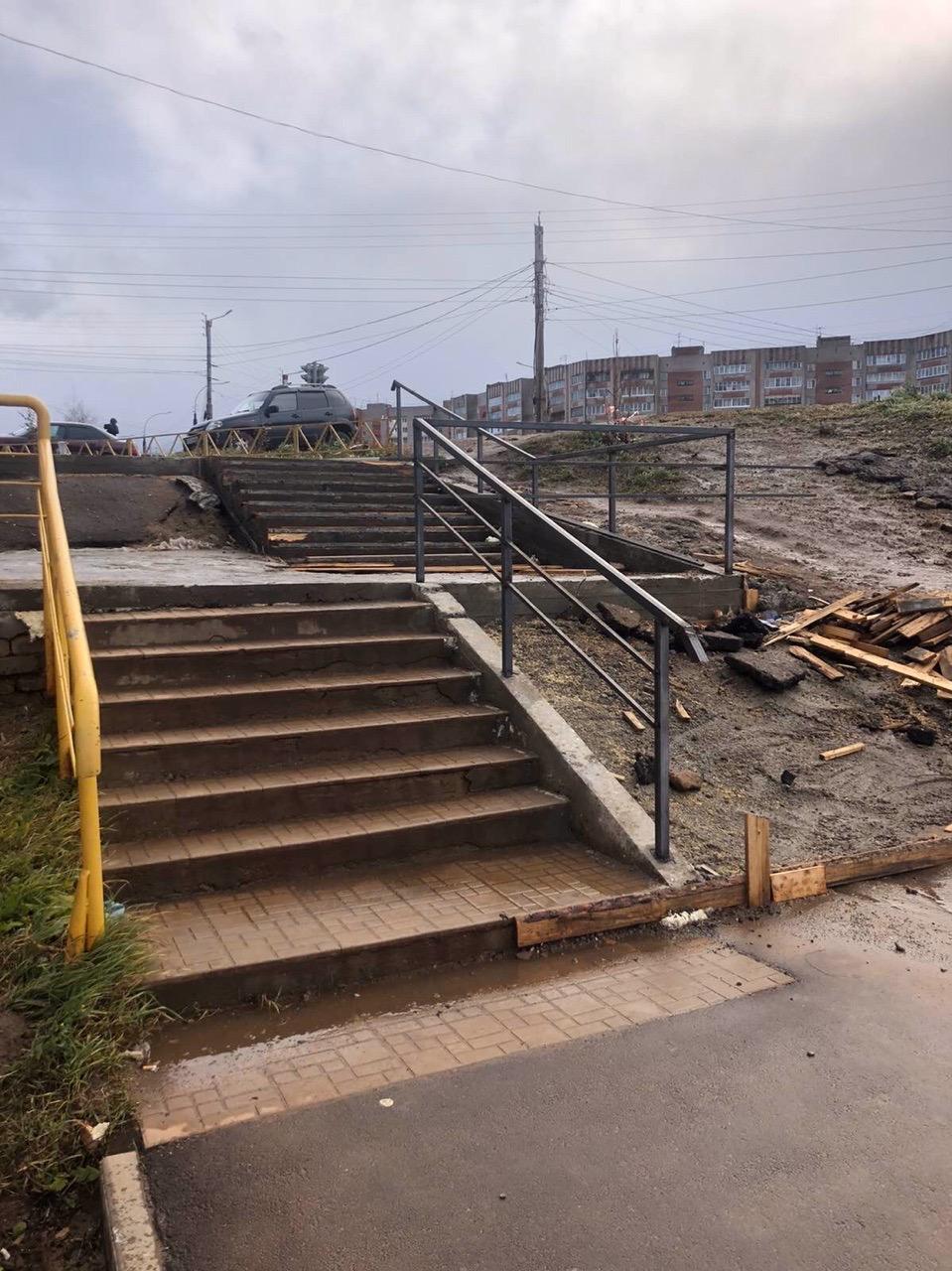 Улица Упита дом 13 ремонт лестничного марша