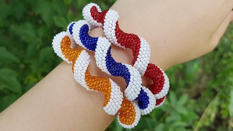 Spiral Beaded Plait Beaded bracelet Спираль из бисера Жгут мозаичным плетением Жгут из бисера