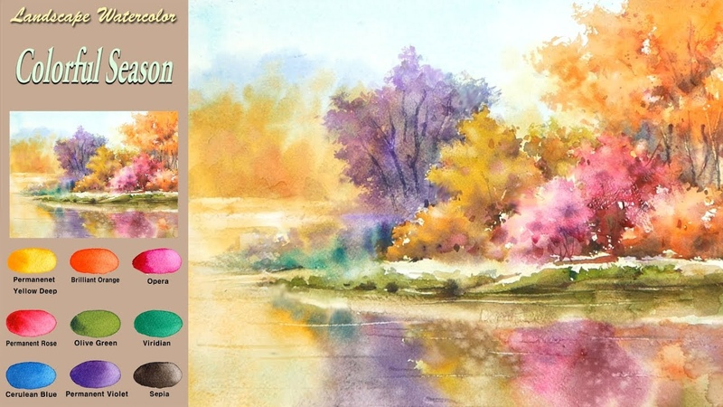 Without Sketch Landscape Watercolor - Colorful Season (wet-in-wet, Arches) NAMIL ART