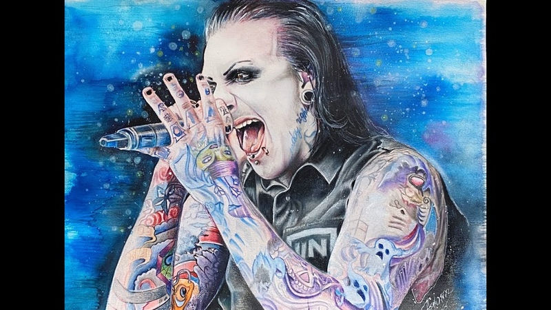 Watercolor portrait SPEED PAINTING Chris Motionless