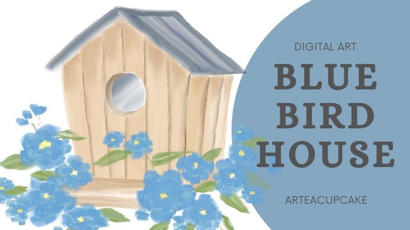 Cute Blue Birdhouse Watercolor Digital Painting Autodesk Sketchbook