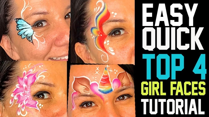 4 Easy Fast Girl Face Painting Ideas Tutorial