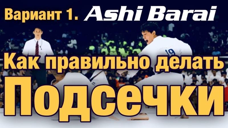 Как делать ПОДСЕЧКУ Ashi Barai Вариант 1 Под опорную ногу с внутренней стороны бедра