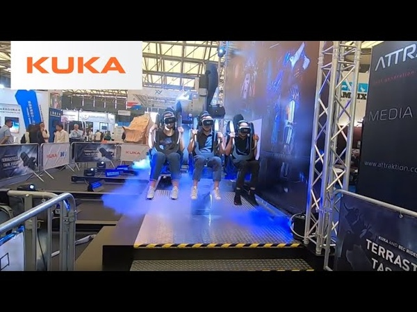 Virtual reality roller coaster from KUKA and BEC – or: the robo-coaster. Highlight at IAAPA 2019.