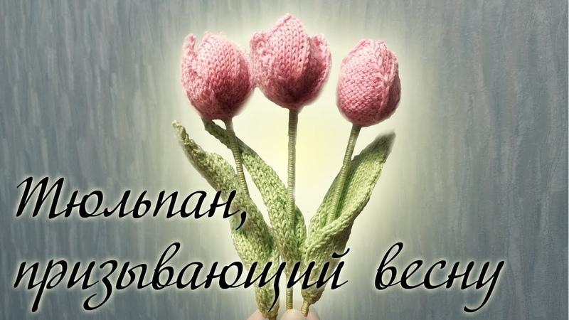 МК Тюльпан, призывающий весну вязание цветка спицами
