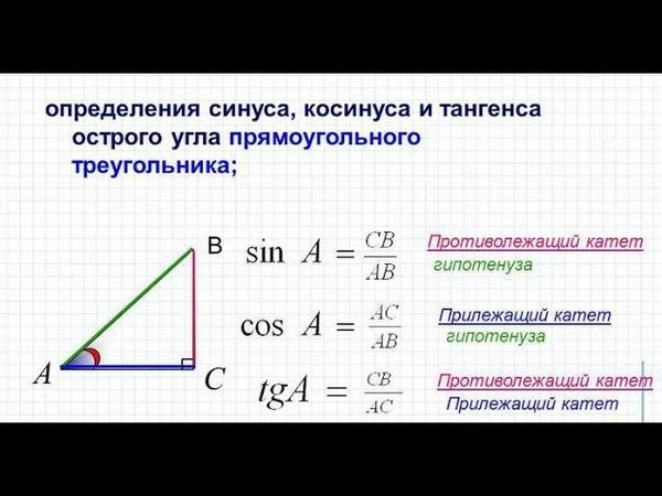 Решение прямоугольных треугольников Синус косинус тангенс котангенс Решение задач