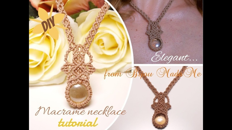 DIY elegant macrame necklace tutorial How to wrap a stone DIY macrame jewelry and crafts