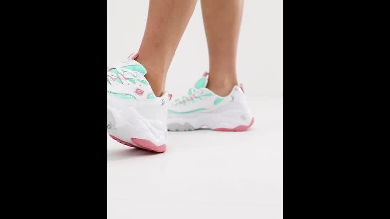 Кроссовки белого и розового цвета на массивной подошве Skechers D'Lites