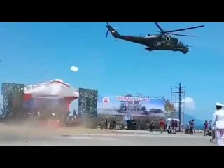Ударный вертолет Ми-35П на военном параде в Индонезии продемонстрировал свою разрушительную мощь