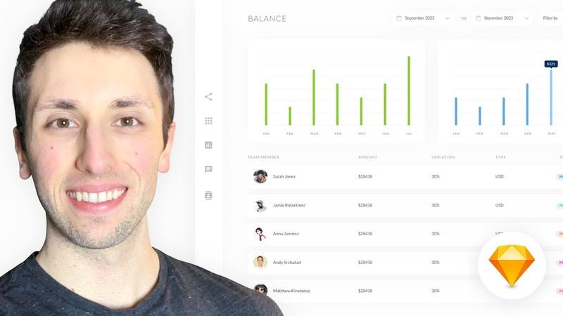 Dashboard Web App UI Design Sketch Tutorial for Beginners 👉1