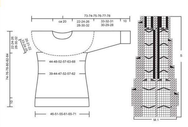 Пуловер с круглой кокеткой и косами от Drops design