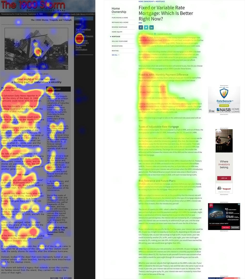 Слева: один из наших самых ранних примеров F-образного паттерна, обнаруженный в начале 2000-х годов на сайте 1900storm.com. Справа: недавний пример  F-образного паттерна на сайте Investopedia.com.