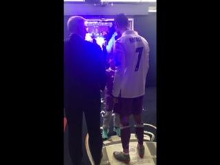 CLASS: Sir Alex Ferguson congratulates Cristiano Ronaldo in Cardiff |