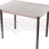 Стол кухонный Каппа ПР ВП МД 02 пл 42, молочный дуб, бежевая плитка с сакурой