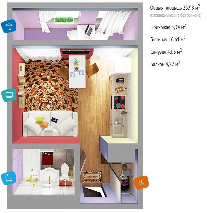 3 проекта квартиры-студии 21, 23,8 и почти 26 м (без учета лоджии) от компании-застройщика Сити-Инжиниринг для ЖК Иртыш, Тобольск.