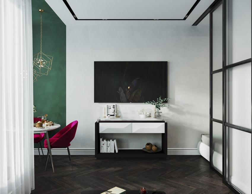 Проект квартиры-студии почти 30 м с разворотом кухни и спальной нишей на ее месте.
