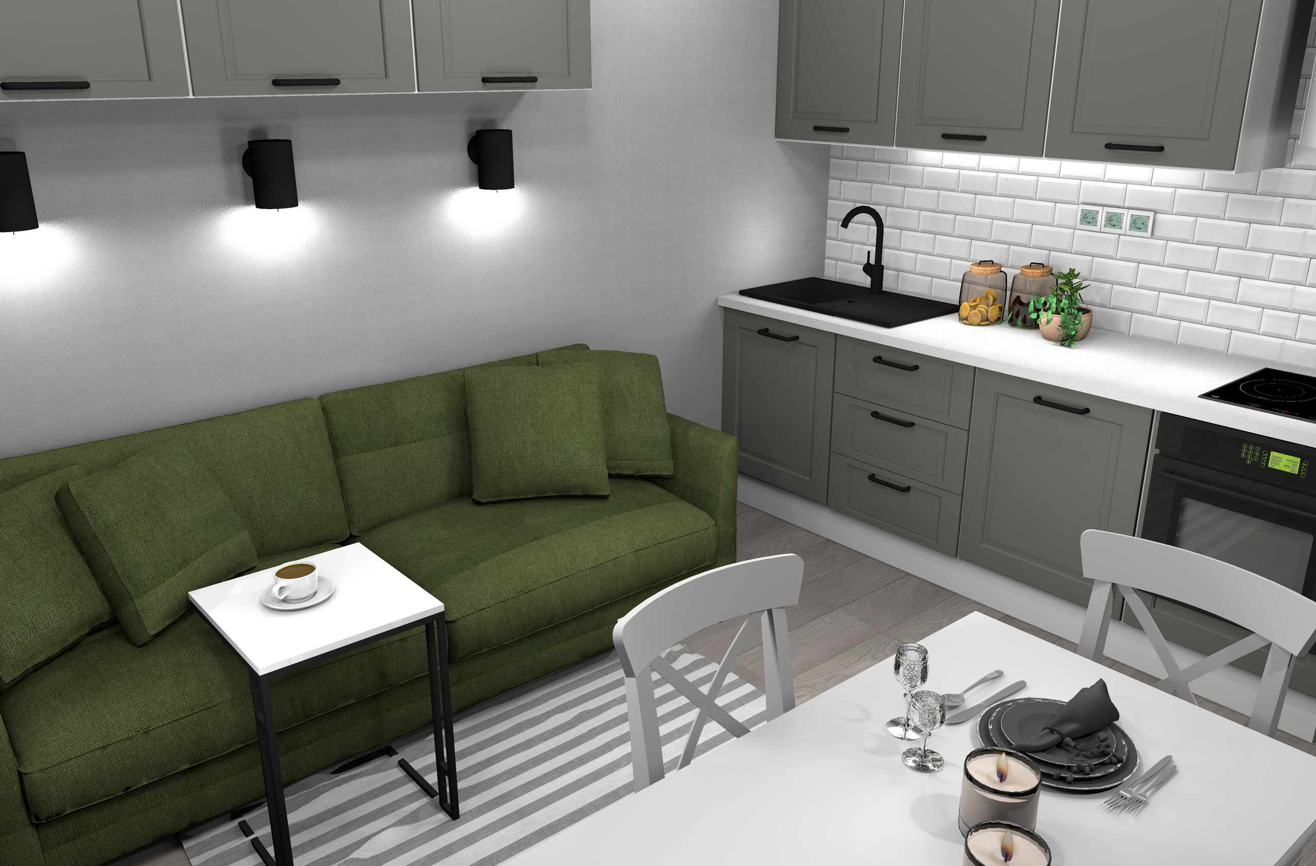 Квартира-студия 26 кв/м в стиле неоклассика.