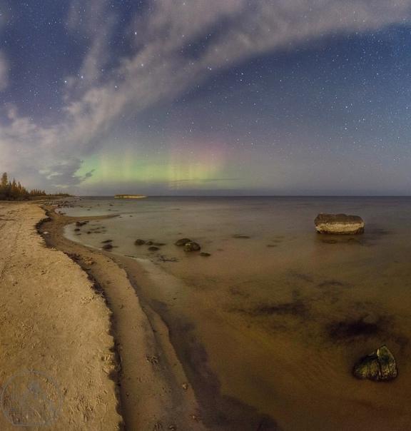 Северное сияние на Ладожском озере — это что-то не...