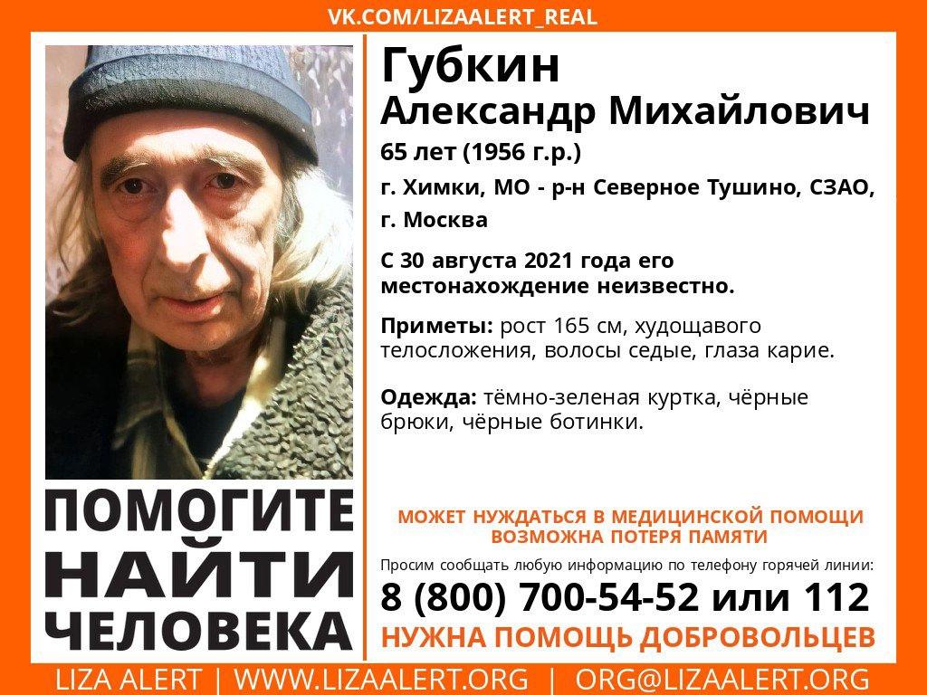 Внимание! Помогите найти человека! Пропал #Губкин Александр Михайлович, 65 лет, г