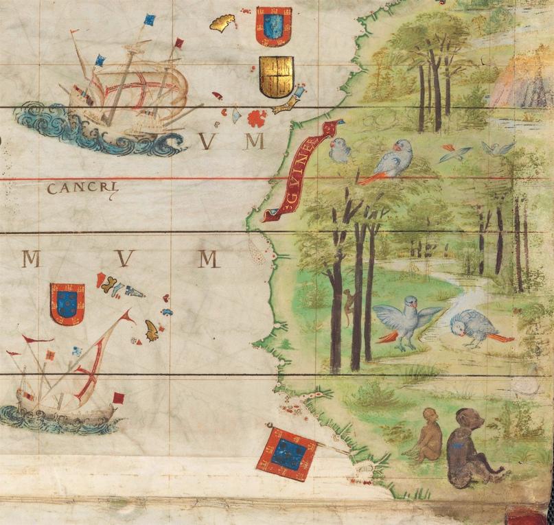Часть побережья Африки. Фрагмент из карты Атлантики в Атласе Миллера (1519)