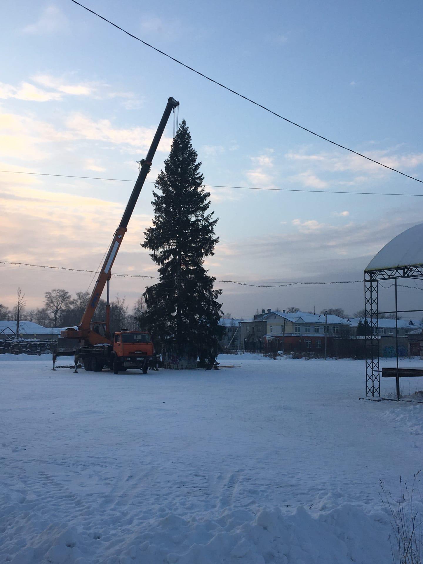Сегодня на «рыночной» площади установили новогоднюю ель...