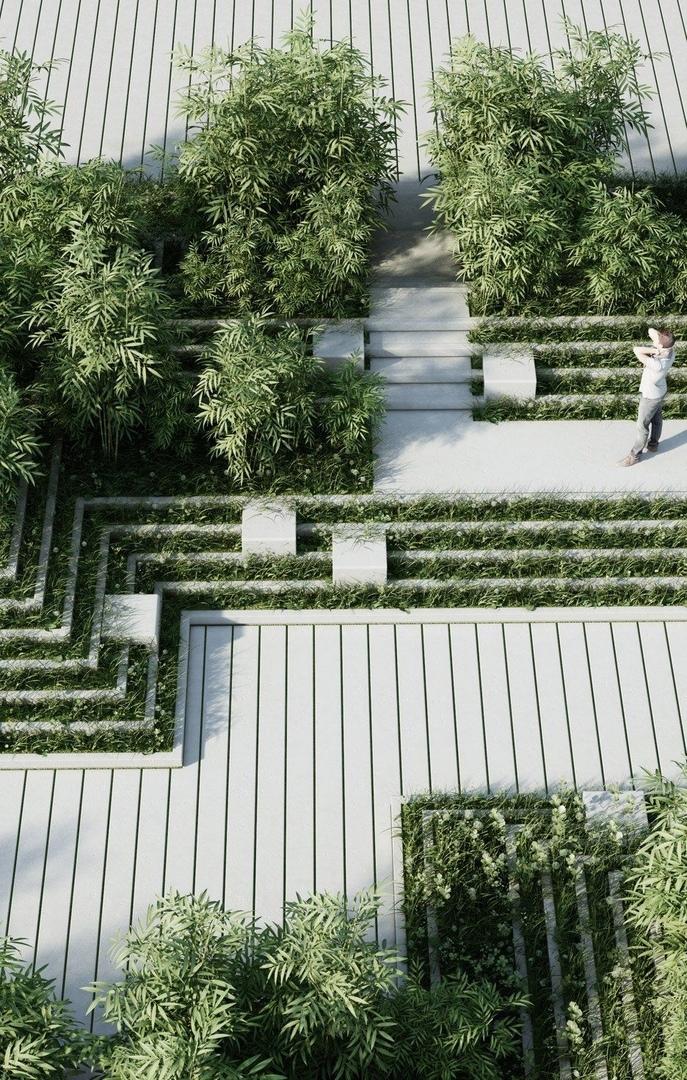 landscaped garden by architecture studio Penda,