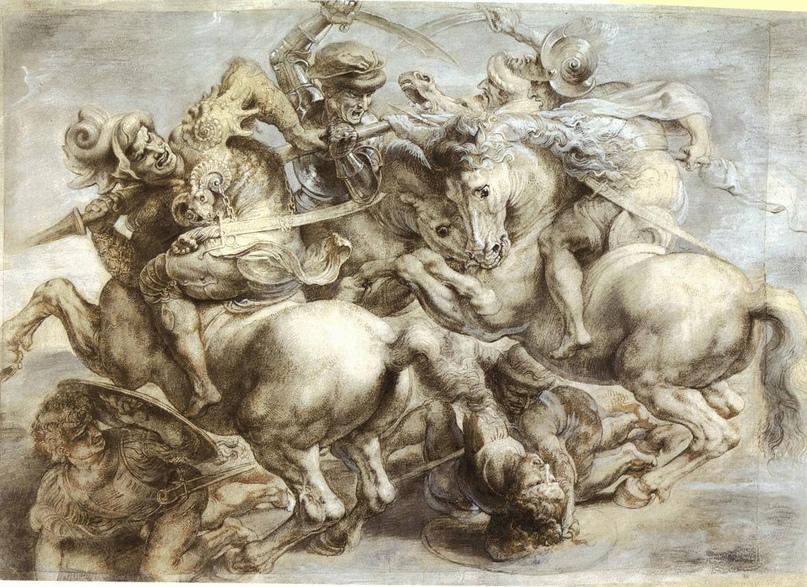 "Копия ""утраченной"" картины Леонардо да Винчи «Битва при Ангиари» Питера Пауля Рубенса."