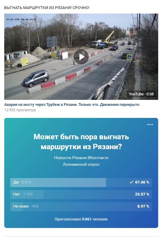 голосование в группе «Новости Рязани ВКонтакте»
