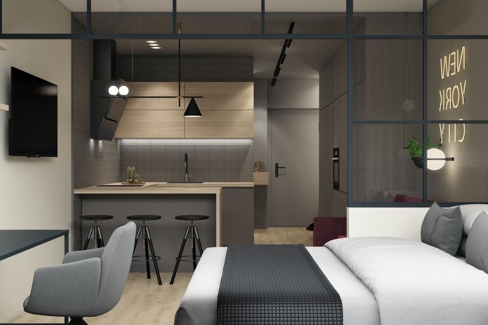 Дизайн-проект квартиры-студии 31 кв.