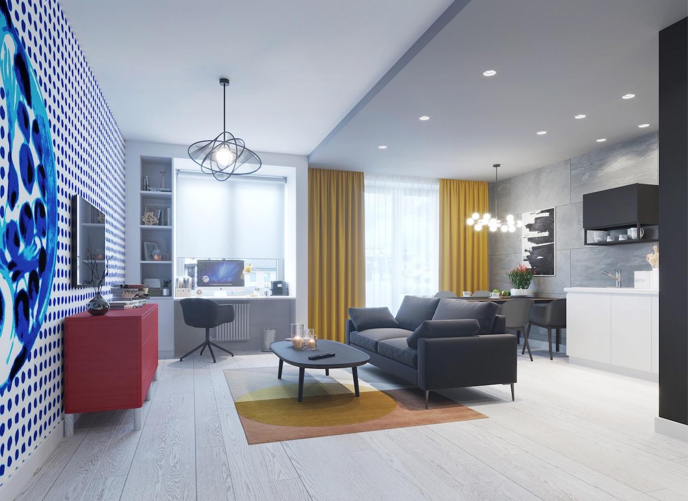 Проект квартиры открытой планировки.