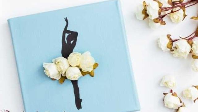 Цветочное панно с балериной для украшения интерьера своими руками, цветочная балерина, как сделать панно с балериной из роз,